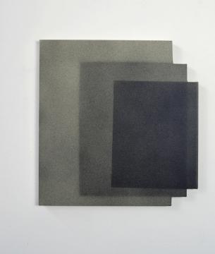 Stencil Trio 2018. Acrylic and UV lacquer on linen, 56 x 54cm