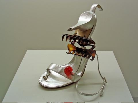 Cocktail Mousetrap 2, 2003. Shoe, hair accessories & cherry