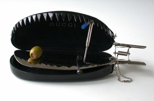 Gucci Case Trap 2003. Eyewear case, shoe horn, steel clip & olive