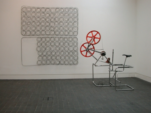 Freestyler 2000. Steel chairs, bicycle, wood & spring wire