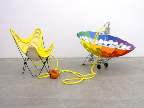 Weather Chair 2003. Butterfly chair, hose, umbrella, coffee machine & mirrors
