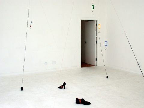City River Fishing 2003. Cut keys, key-fobs. shoes, coins, makeup container, telephone chargers & electrical wire. IBID  Projects, London
