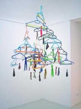 Man Ray Fishing 2005. Cut keys, ties, shoe laces, electrical wire & coat hangers. Umberto Di Marino Arte Contemporanea, Naples