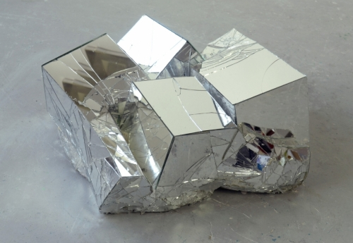 Broken Mirror Quad 2019, reinforced aluminium cement & mirror, 21 x 45 x 50cm