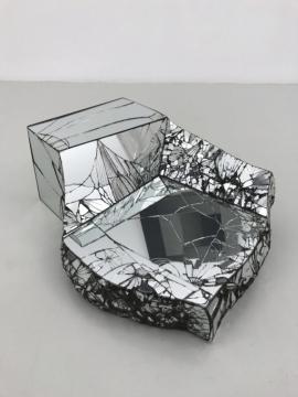 Via Negativa (Broken Reflection 1) 2018, reinforced alpha crystalline gypsum & mirror, 26 x 60 x 52cm