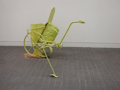 Untitled (Crop) 2001, painted steel & corn seeds. Jerwood Gallery, London