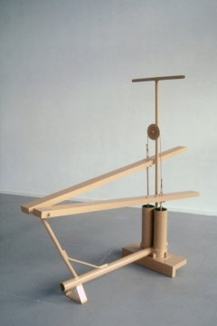 Untitled 1, 1997, painted steel, wood & rubber