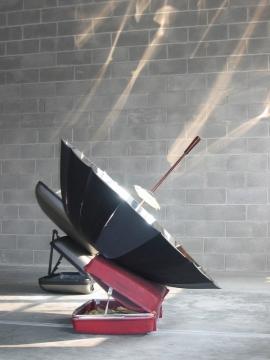 Eternal Solar Corn 1 & 2, 2003. Umbrella, suitcases, mirror coated aluminium, cutlery  & corn