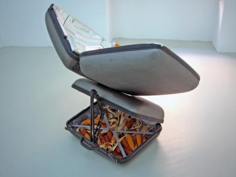 Eternal Solar Corn 2, 2003. Suitcases, mirror coated aluminium, cutlery  & corn