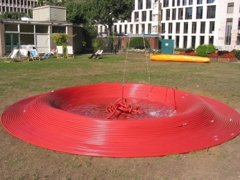 """Fire Water Fountain Hose 2003 """"The Square Show"""", Bloomberg Space, London"""